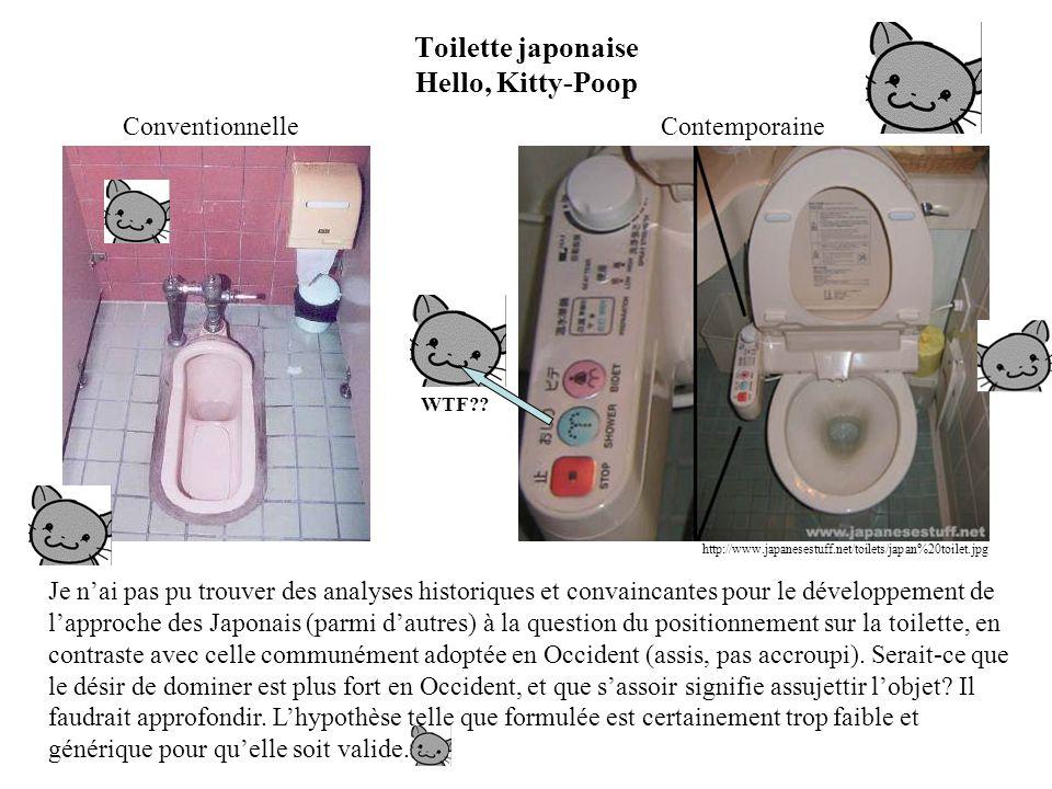 Toilette japonaise Hello, Kitty-Poop Conventionnelle Je n'ai pas pu trouver des analyses historiques et convaincantes pour le développement de l'approche des Japonais (parmi d'autres) à la question du positionnement sur la toilette, en contraste avec celle communément adoptée en Occident (assis, pas accroupi).