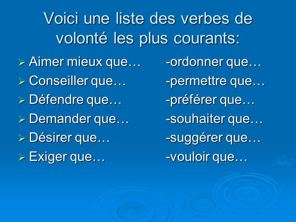 Voici une liste des verbes de volonté les plus courants:  Aimer mieux que…-ordonner que…  Conseiller que…-permettre que…  Défendre que…-préférer qu