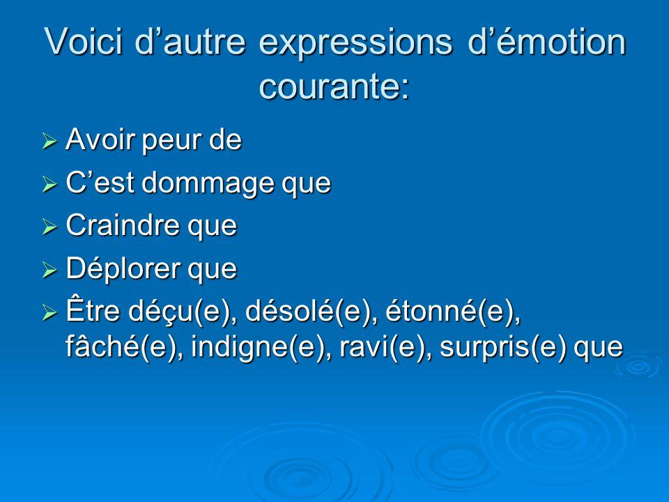 Voici d'autre expressions d'émotion courante:  Avoir peur de  C'est dommage que  Craindre que  Déplorer que  Être déçu(e), désolé(e), étonné(e),