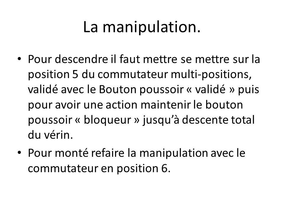 La manipulation. Pour descendre il faut mettre se mettre sur la position 5 du commutateur multi-positions, validé avec le Bouton poussoir « validé » p