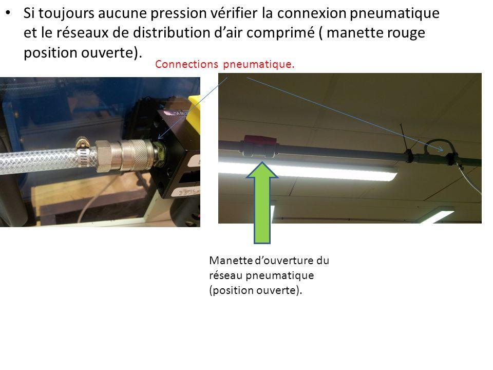 Si toujours aucune pression vérifier la connexion pneumatique et le réseaux de distribution d'air comprimé ( manette rouge position ouverte). Manette