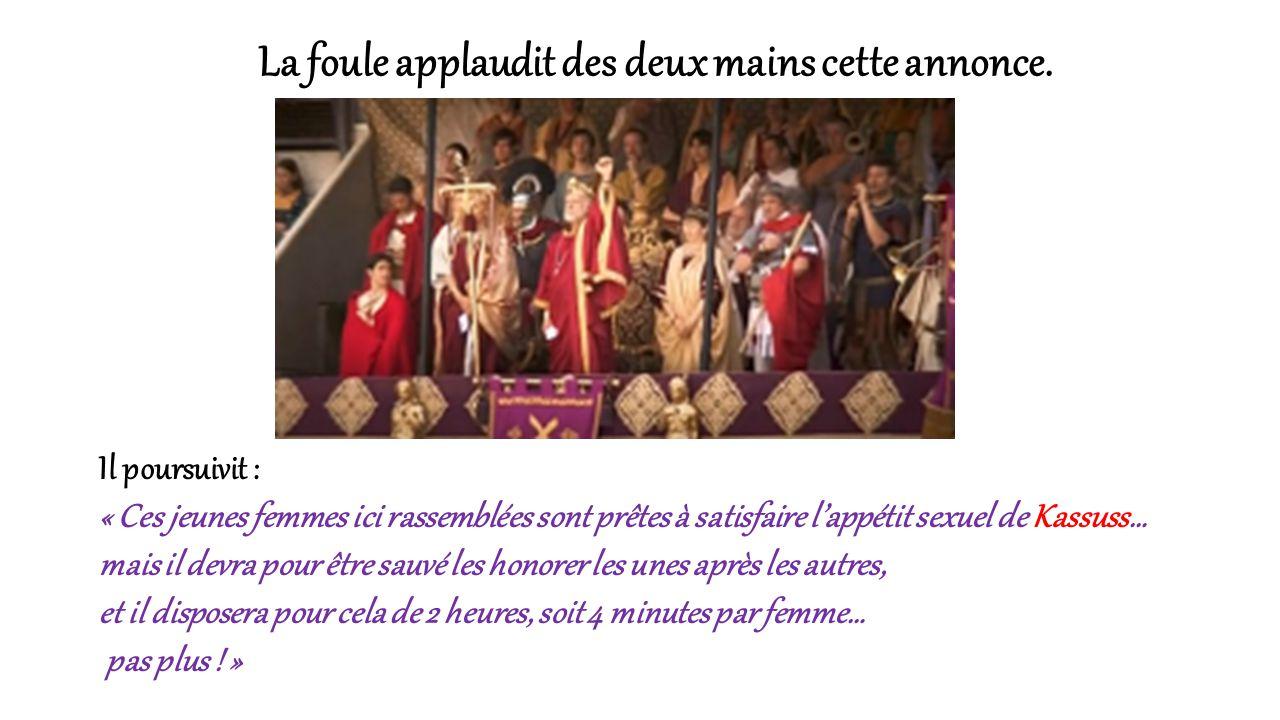 « Romains, en ce jour nous inaugurons une nouvelle forme de jeux du cirque… des jeux sexuels… qui vont éprouver le meilleur de mes gladiateurs… Kassus