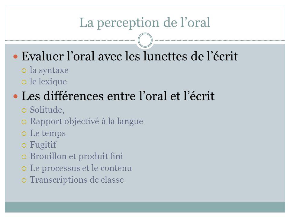 La perception de l'oral Evaluer l'oral avec les lunettes de l'écrit  la syntaxe  le lexique Les différences entre l'oral et l'écrit  Solitude,  Ra
