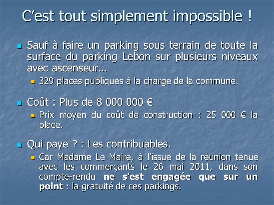 C'est tout simplement impossible ! Sauf à faire un parking sous terrain de toute la surface du parking Lebon sur plusieurs niveaux avec ascenseur… Sau