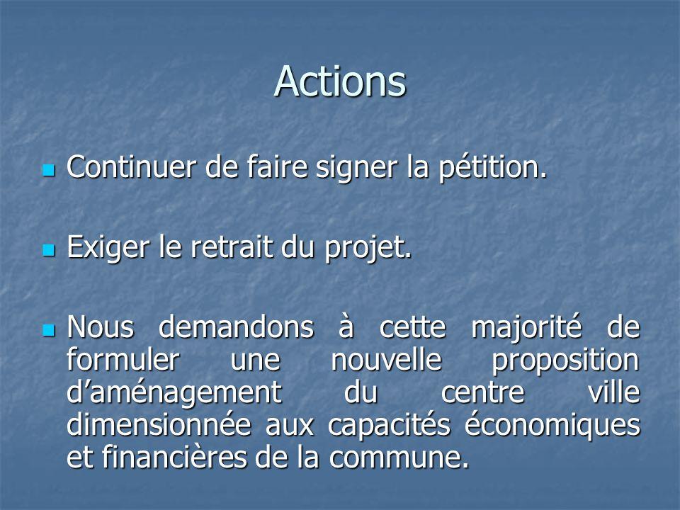 Actions Continuer de faire signer la pétition. Exiger le retrait du projet. Nous demandons à cette majorité de formuler une nouvelle proposition d'amé
