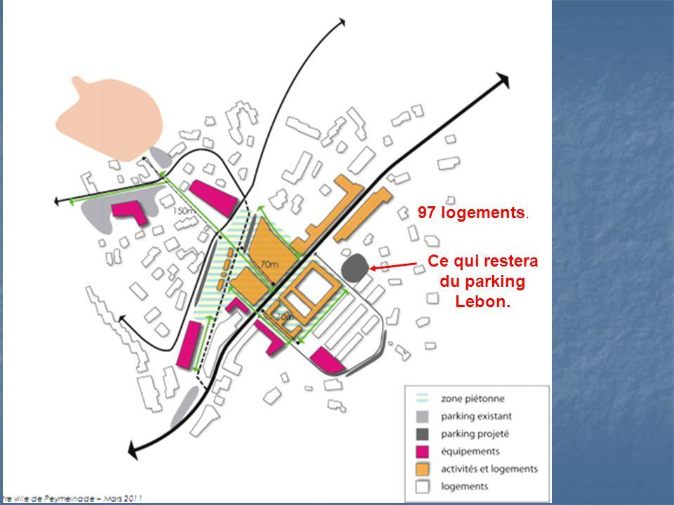 A la place du parking Lebon, 97 logements Législation : Législation : 2,5 places par logement du secteur privé.