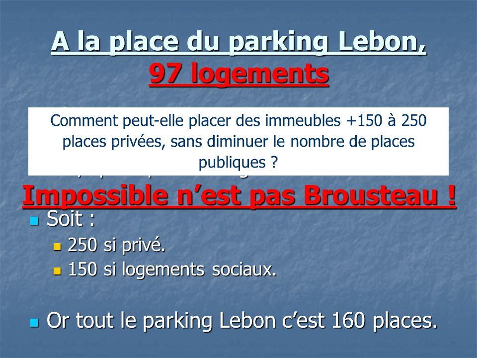 A la place du parking Lebon, 97 logements Législation : Législation : 2,5 places par logement du secteur privé. 2,5 places par logement du secteur pri