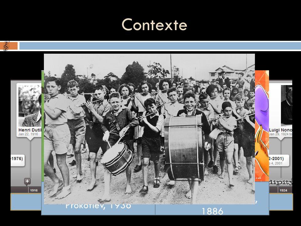 Contexte Fin de la seconde guerre mondiale Compositeurs contemporains à Britten Pierre et le Loup, Prokofiev, 1936 Le Carnaval des animaux, Saint-Saëns, 1886