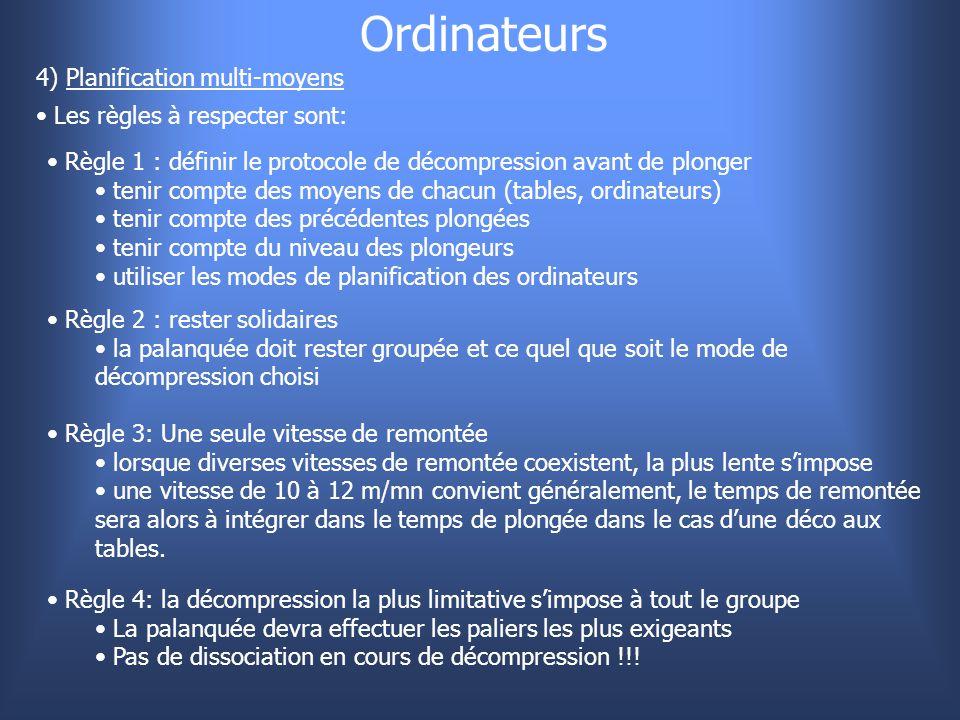 Ordinateurs 4) Planification multi-moyens Les règles à respecter sont: Règle 1 : définir le protocole de décompression avant de plonger tenir compte d