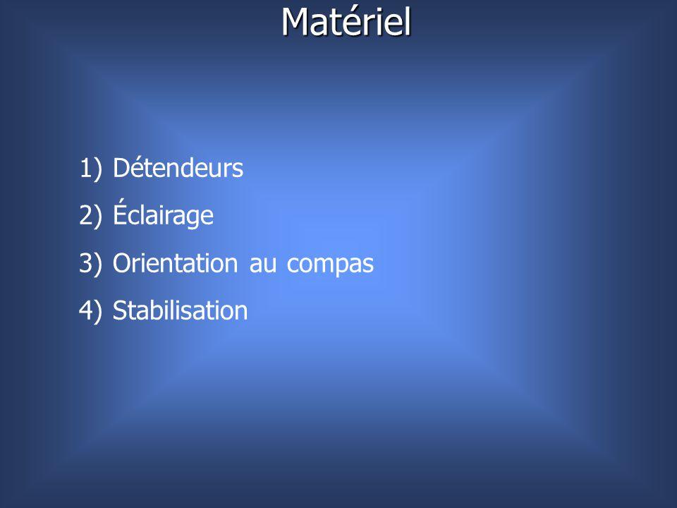 Matériel 1) Détendeurs 2) Éclairage 3) Orientation au compas 4) Stabilisation