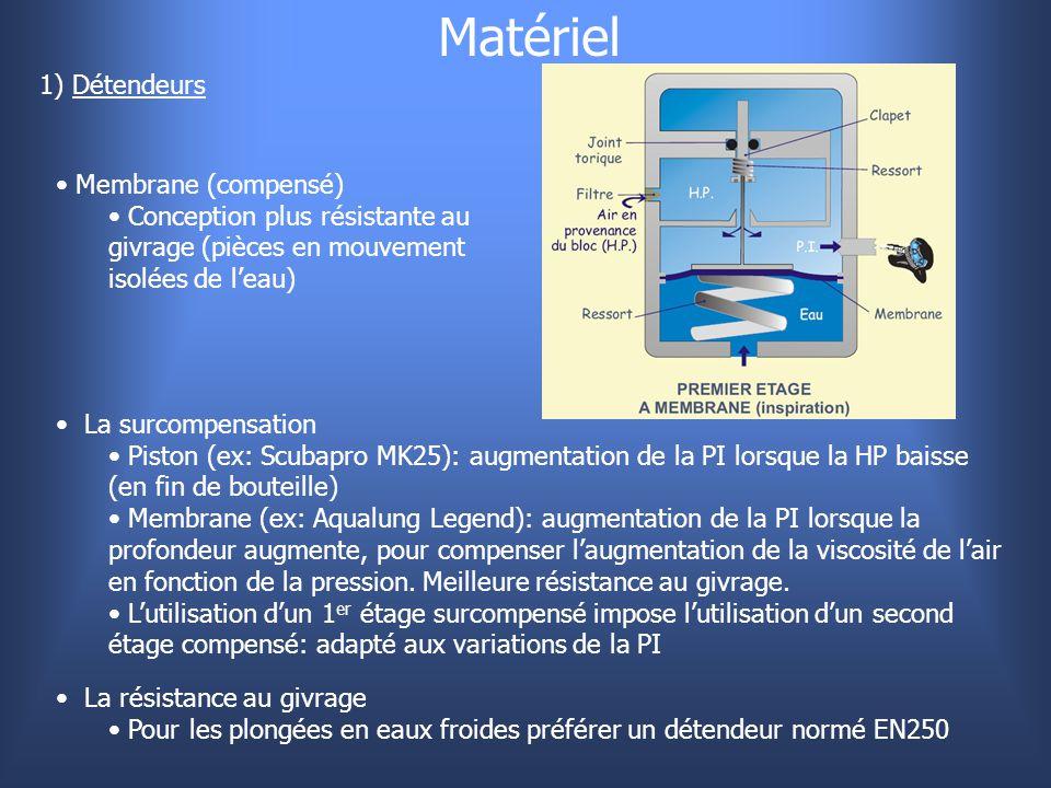 Matériel 1) Détendeurs Membrane (compensé) Conception plus résistante au givrage (pièces en mouvement isolées de l'eau) La surcompensation Piston (ex: