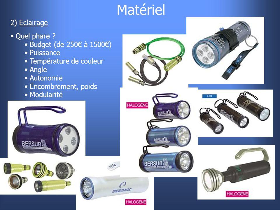 Matériel 2) Eclairage Quel phare ? Budget (de 250€ à 1500€) Puissance Température de couleur Angle Autonomie Encombrement, poids Modularité