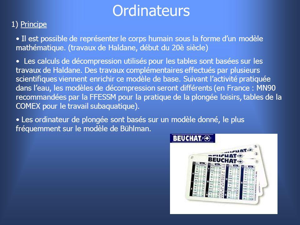 Ordinateurs 1) Principe Il est possible de représenter le corps humain sous la forme d'un modèle mathématique. (travaux de Haldane, début du 20è siècl