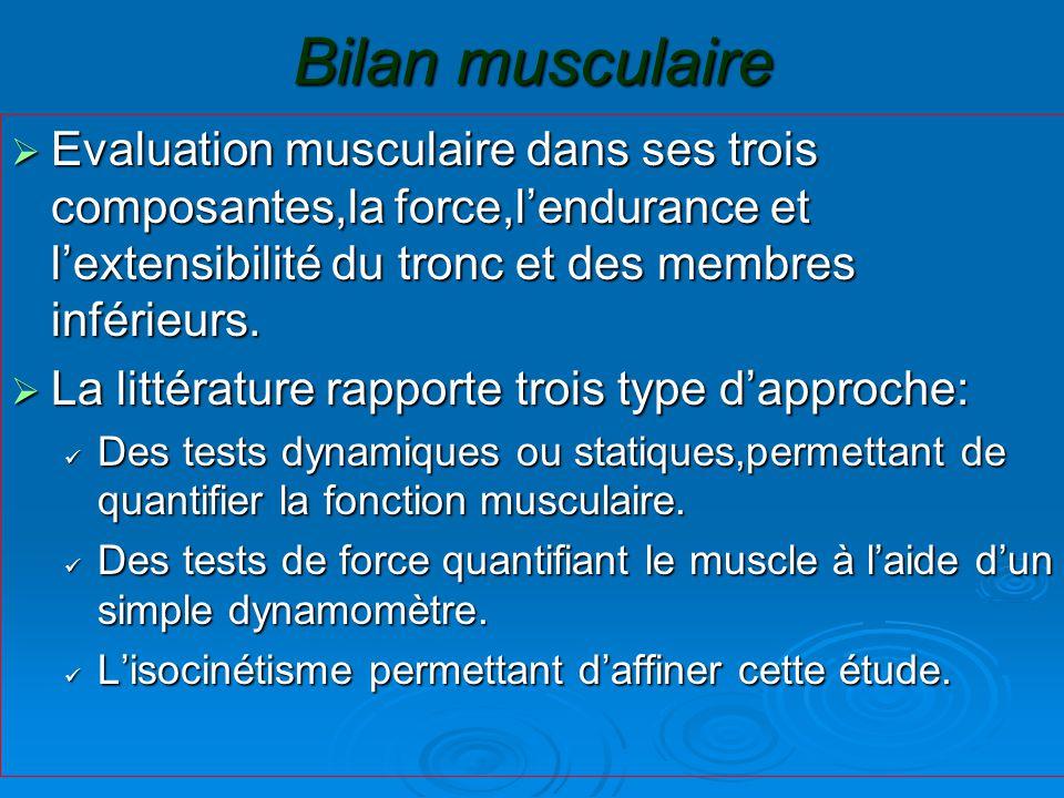 Bilan musculaire  Evaluation musculaire dans ses trois composantes,la force,l'endurance et l'extensibilité du tronc et des membres inférieurs.  La l