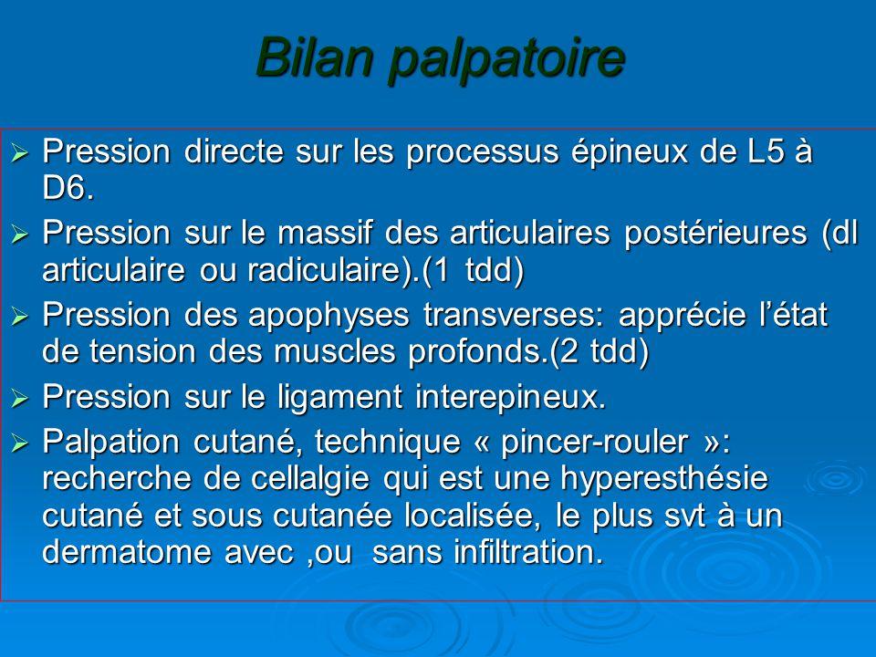Bilan palpatoire  Pression directe sur les processus épineux de L5 à D6.  Pression sur le massif des articulaires postérieures (dl articulaire ou ra