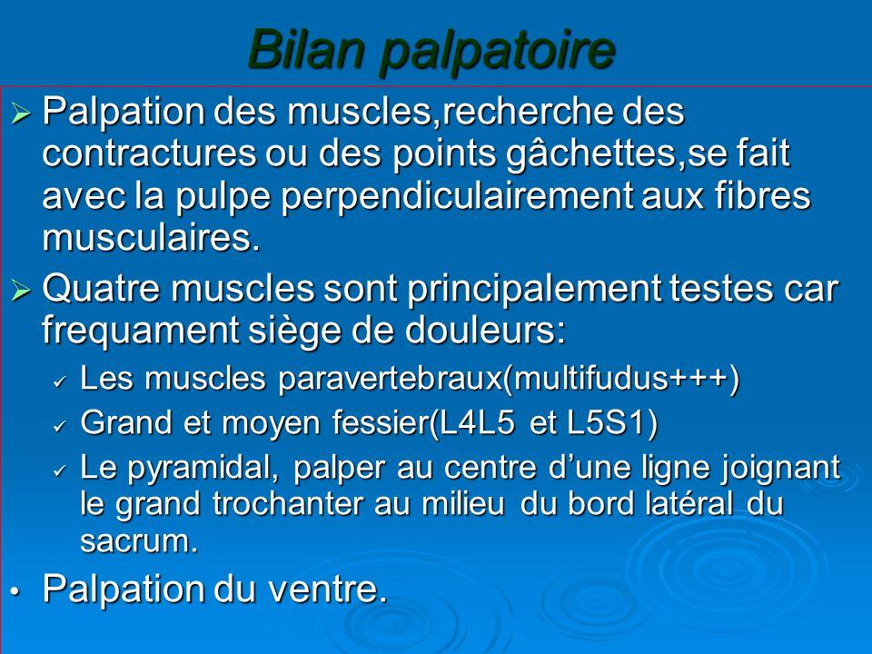 Bilan palpatoire  Palpation des muscles,recherche des contractures ou des points gâchettes,se fait avec la pulpe perpendiculairement aux fibres musculaires.
