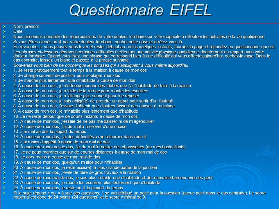 Questionnaire EIFEL  Nom, prénom :  Date :  Nous aimerions connaître les répercussions de votre douleur lombaire sur votre capacité à effectuer les activités de la vie quotidienne.
