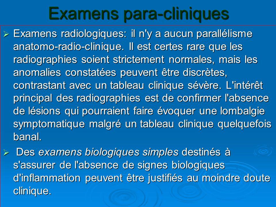 Examens para-cliniques  Examens radiologiques: il n'y a aucun parallélisme anatomo-radio-clinique. Il est certes rare que les radiographies soient st
