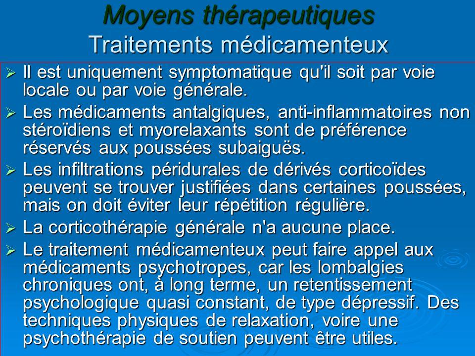 Moyens thérapeutiques Traitements médicamenteux  Il est uniquement symptomatique qu'il soit par voie locale ou par voie générale.  Les médicaments a