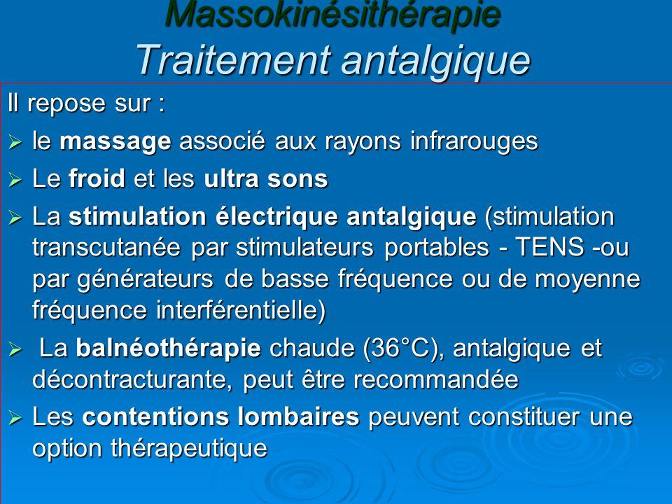 Massokinésithérapie Traitement antalgique Il repose sur :  le massage associé aux rayons infrarouges  Le froid et les ultra sons  La stimulation él