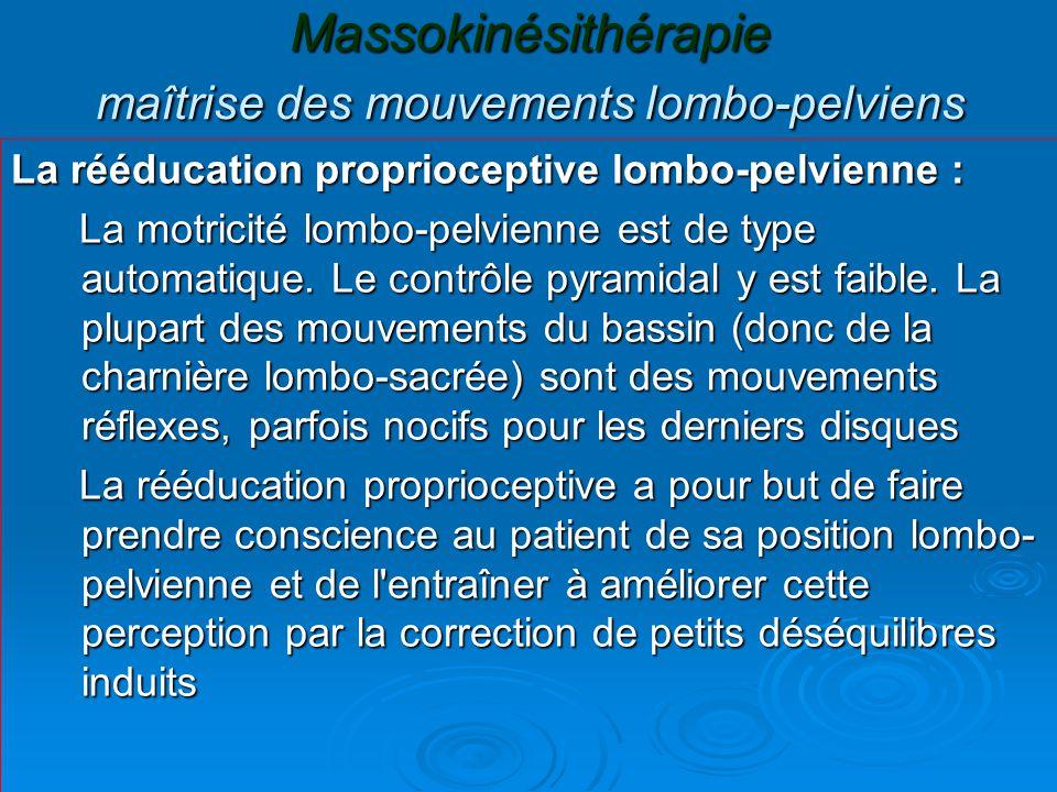 Massokinésithérapie maîtrise des mouvements lombo-pelviens La rééducation proprioceptive lombo-pelvienne : La motricité lombo-pelvienne est de type au