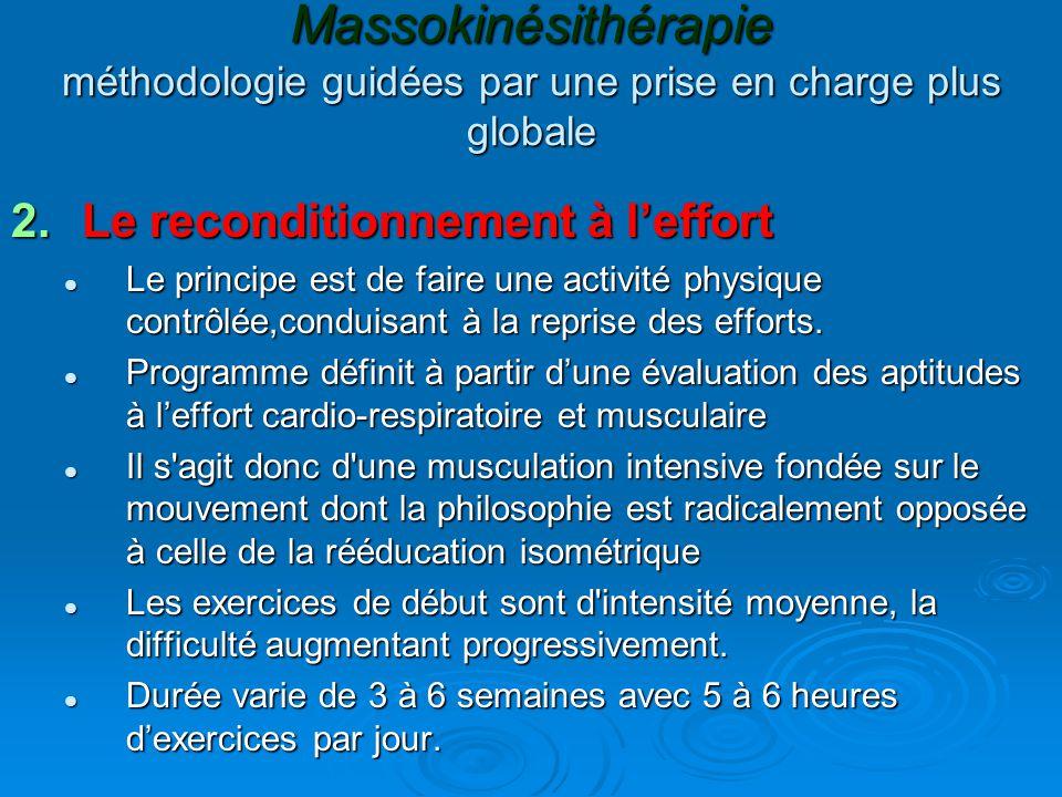 Massokinésithérapie méthodologie guidées par une prise en charge plus globale 2.Le reconditionnement à l'effort Le principe est de faire une activité physique contrôlée,conduisant à la reprise des efforts.