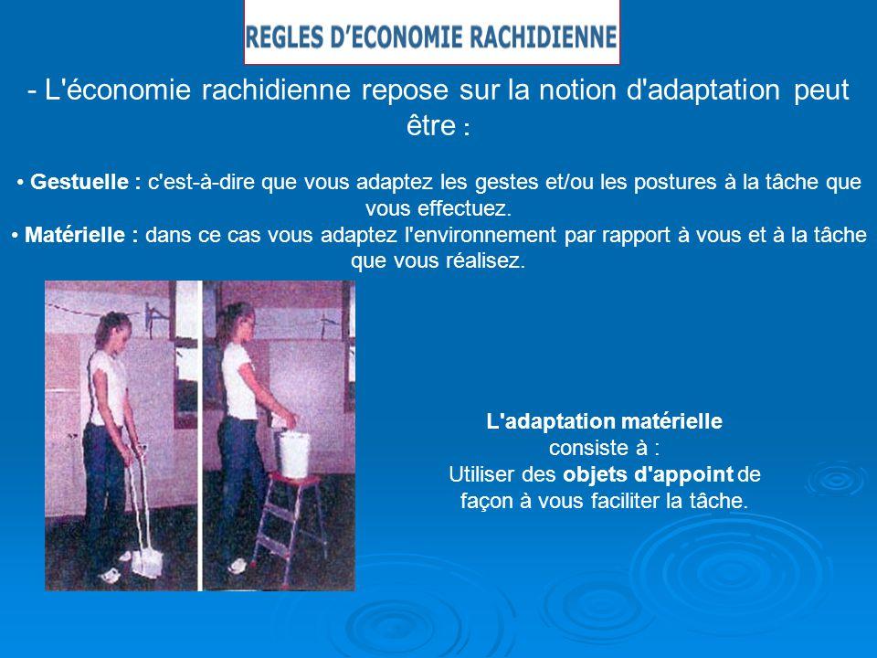 - L'économie rachidienne repose sur la notion d'adaptation peut être : Gestuelle : c'est-à-dire que vous adaptez les gestes et/ou les postures à la tâ