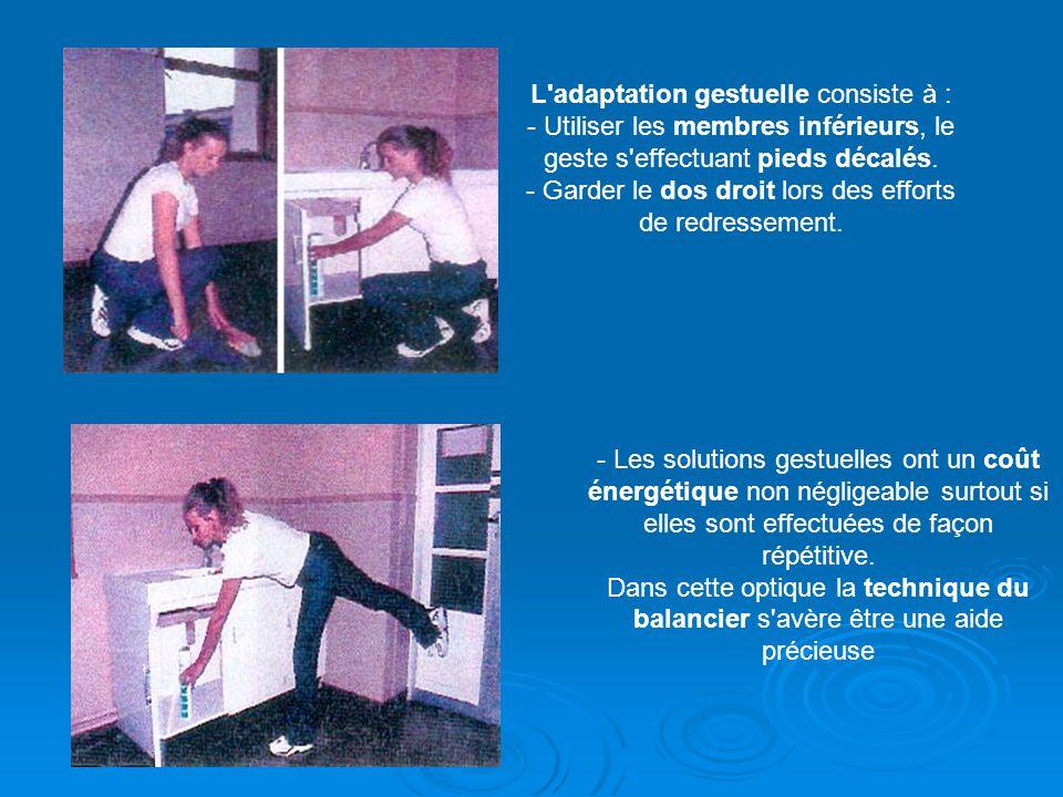 L'adaptation gestuelle consiste à : - Utiliser les membres inférieurs, le geste s'effectuant pieds décalés. - Garder le dos droit lors des efforts de