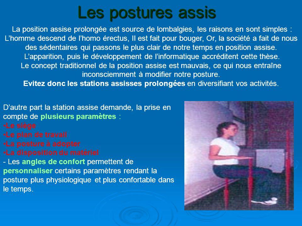 Les postures assis La position assise prolongée est source de lombalgies, les raisons en sont simples : L'homme descend de l'homo érectus, Il est fait