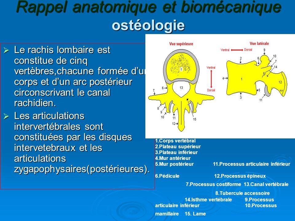 Rappel anatomique et biomécanique ostéologie  Le rachis lombaire est constitue de cinq vertèbres,chacune formée d'un corps et d'un arc postérieur circonscrivant le canal rachidien.