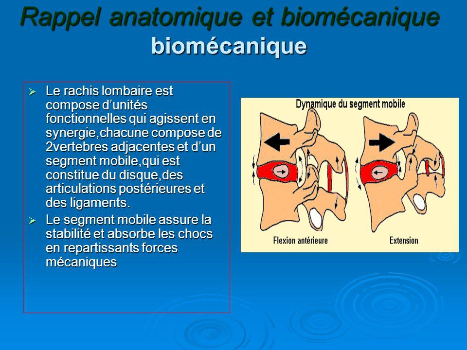 Rappel anatomique et biomécanique biomécanique  Le rachis lombaire est compose d'unités fonctionnelles qui agissent en synergie,chacune compose de 2vertebres adjacentes et d'un segment mobile,qui est constitue du disque,des articulations postérieures et des ligaments.