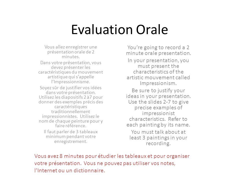 Evaluation Orale Vous allez enregistrer une présentation orale de 2 minutes.