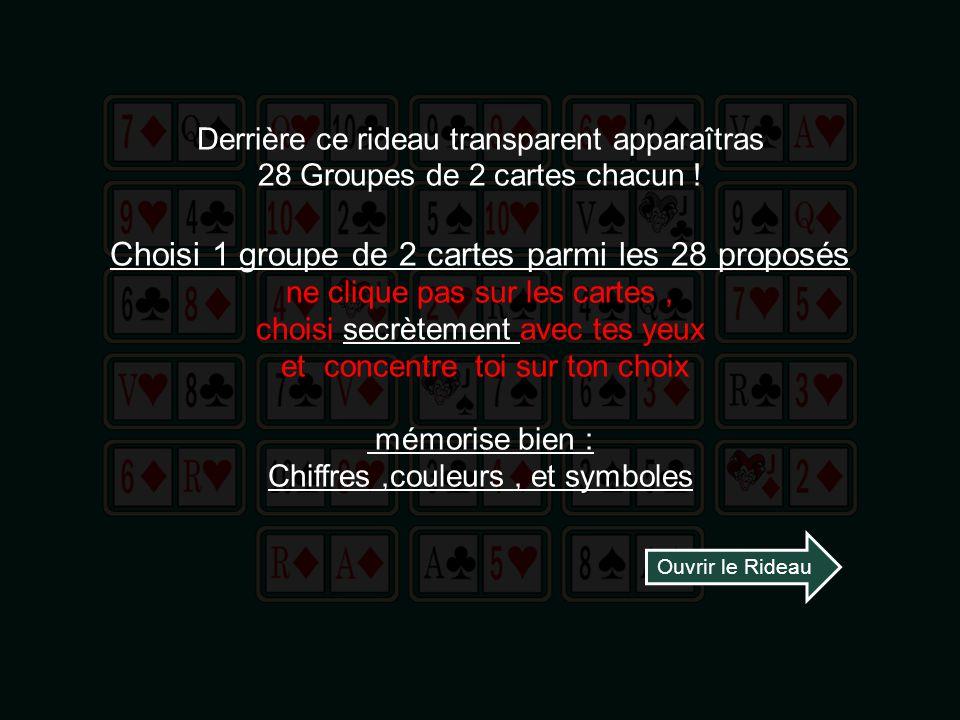 Derrière ce rideau transparent apparaîtras 28 Groupes de 2 cartes chacun .