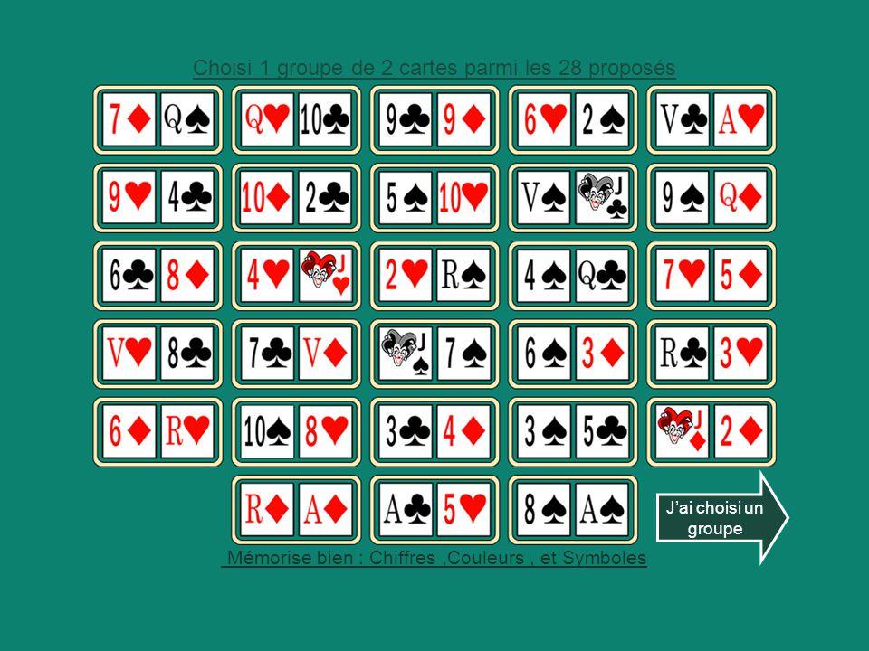 J'ai choisi un groupe Choisi 1 groupe de 2 cartes parmi les 28 proposés Mémorise bien : Chiffres,Couleurs, et Symboles