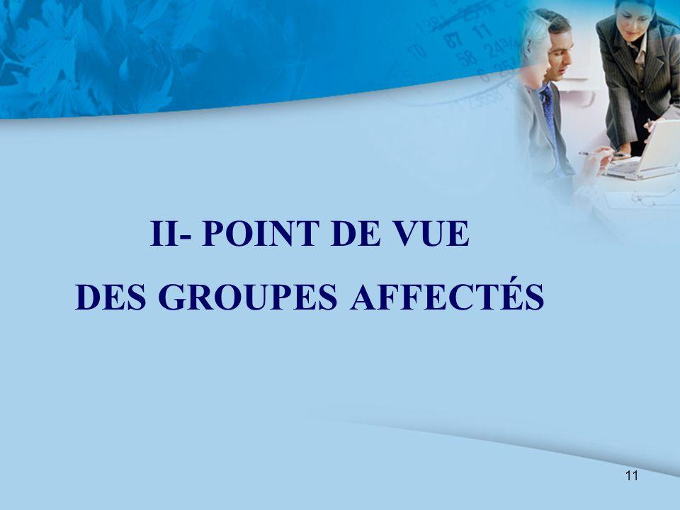 11 II- POINT DE VUE DES GROUPES AFFECTÉS