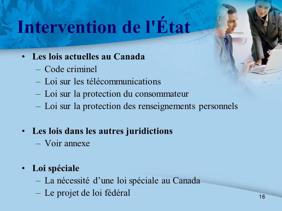 16 Intervention de l'État Les lois actuelles au Canada –Code criminel –Loi sur les télécommunications –Loi sur la protection du consommateur –Loi sur