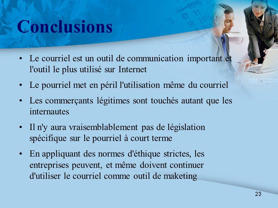 23 Conclusions Le courriel est un outil de communication important et l'outil le plus utilisé sur Internet Le pourriel met en péril l'utilisation même