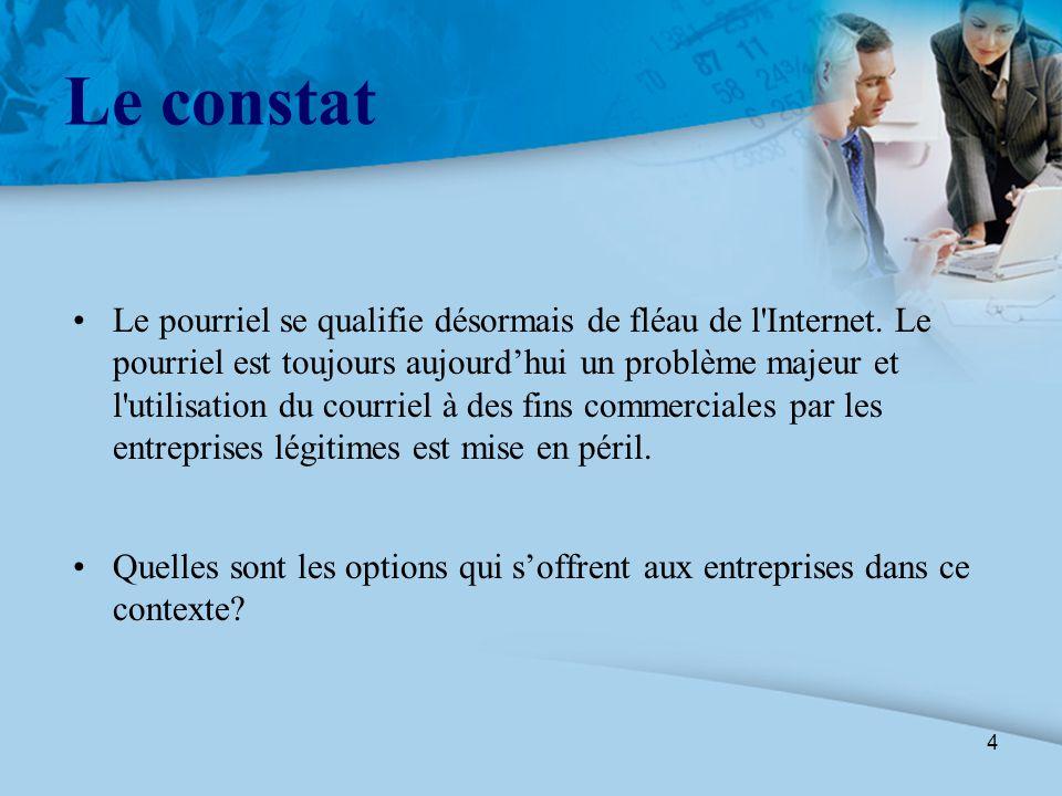 4 Le constat Le pourriel se qualifie désormais de fléau de l'Internet. Le pourriel est toujours aujourd'hui un problème majeur et l'utilisation du cou