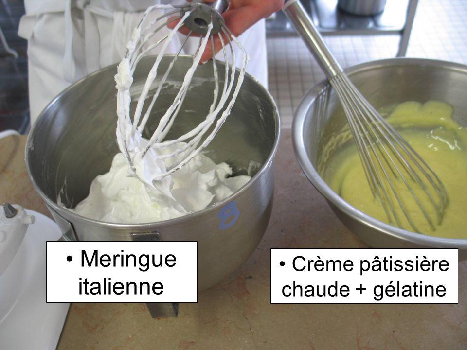 Meringue italienne Crème pâtissière chaude + gélatine