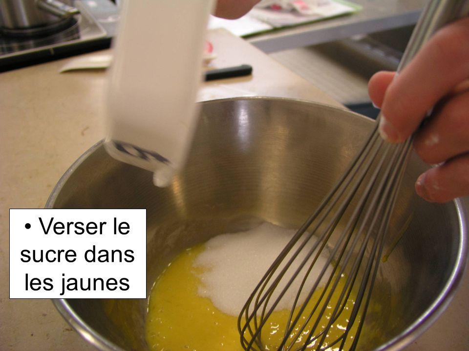 Verser le sucre dans les jaunes