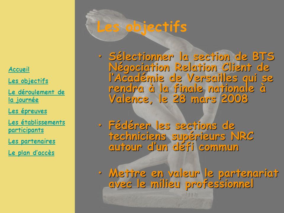 Les objectifs Sélectionner la section de BTS Négociation Relation Client de l'Académie de Versailles qui se rendra à la finale nationale à Valence, le