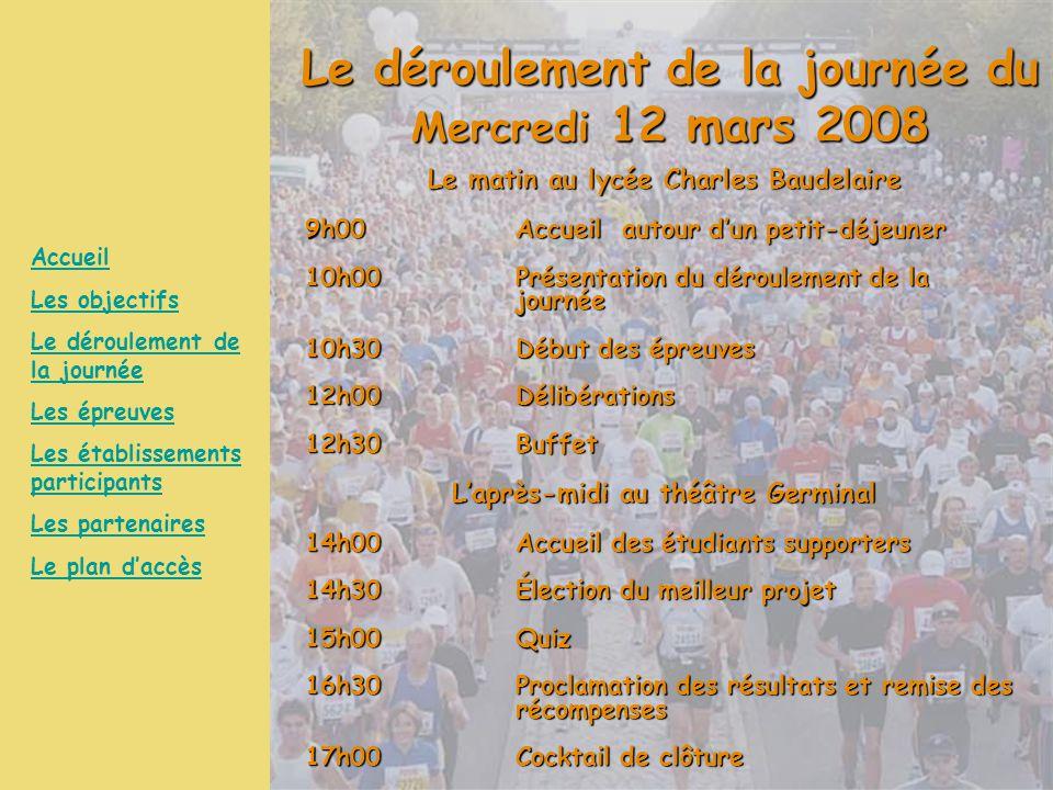 Le déroulement de la journée du Mercredi 12 mars 2008 Le matin au lycée Charles Baudelaire 9h00Accueil autour d'un petit-déjeuner 10h00Présentation du