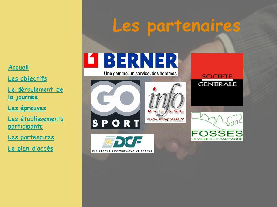 Les partenaires Accueil Les objectifs Le déroulement de la journée Les épreuves Les établissements participants Les partenaires Le plan d'accès