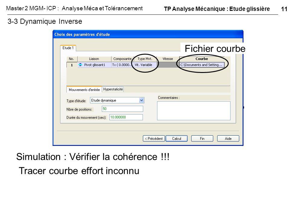 3-3 Dynamique Inverse Fichier courbe Simulation : Vérifier la cohérence !!! Tracer courbe effort inconnu TP Analyse Mécanique : Etude glissière 11 Mas