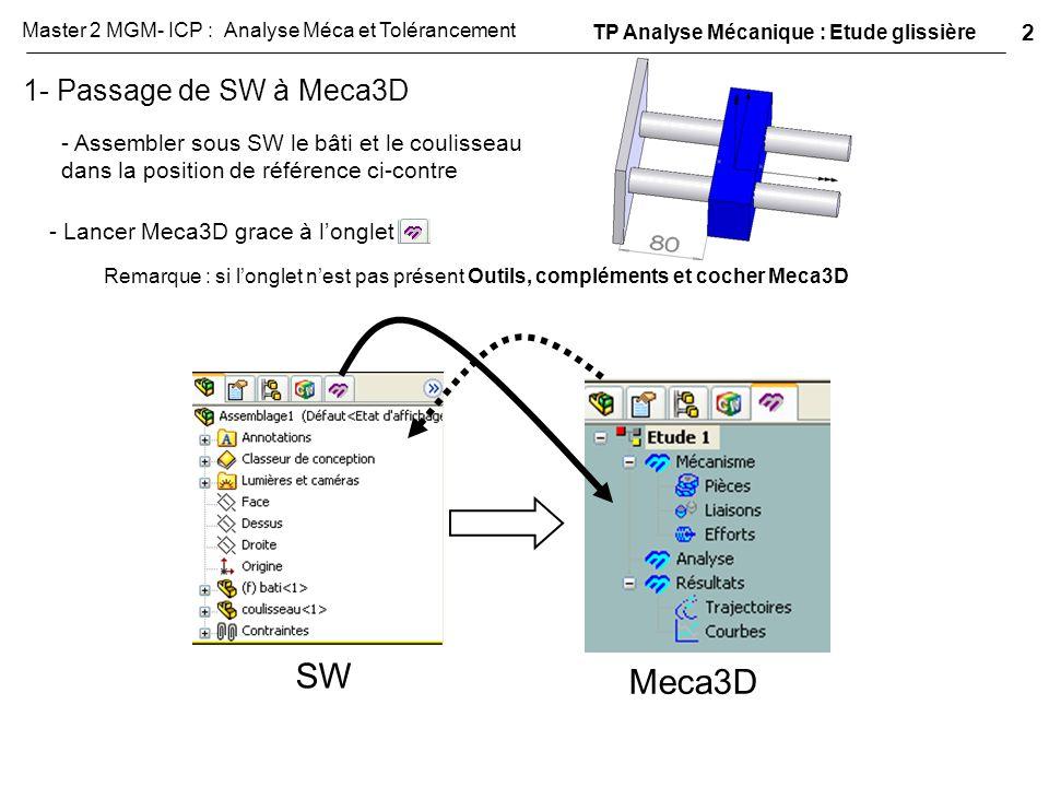 1- Passage de SW à Meca3D - Assembler sous SW le bâti et le coulisseau dans la position de référence ci-contre - Lancer Meca3D grace à l'onglet SW Mec