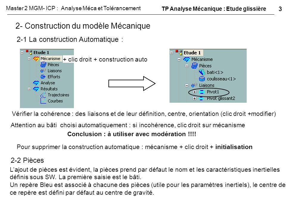 2- Construction du modèle Mécanique 2-1 La construction Automatique : + clic droit + construction auto Vérifier la cohérence : des liaisons et de leur
