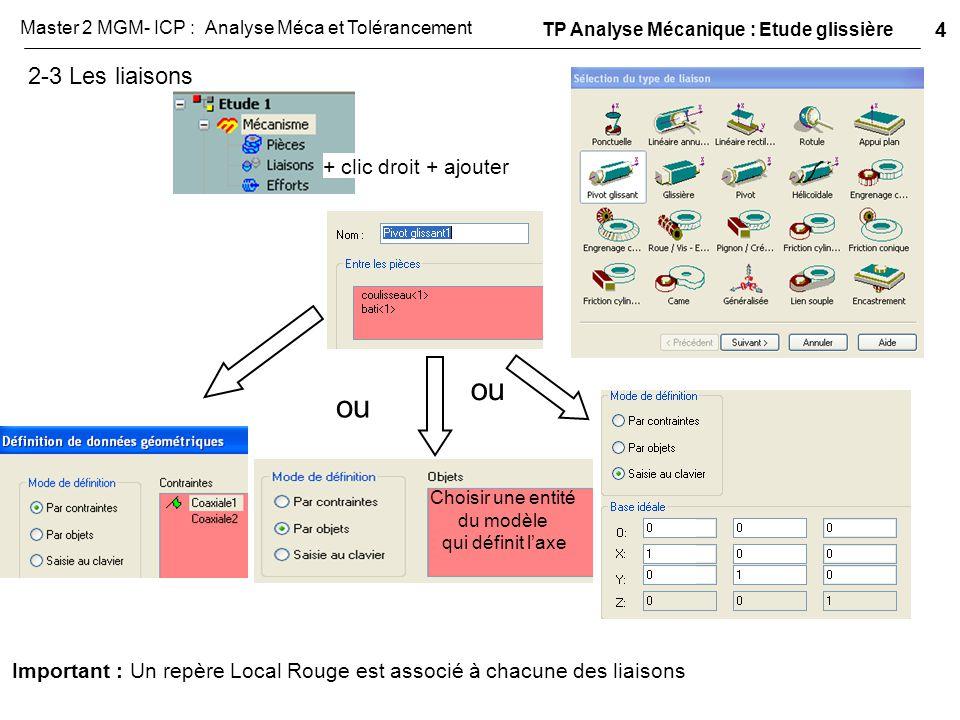 2-3 Les liaisons + clic droit + ajouter Choisir une entité du modèle qui définit l'axe ou Important : Un repère Local Rouge est associé à chacune des
