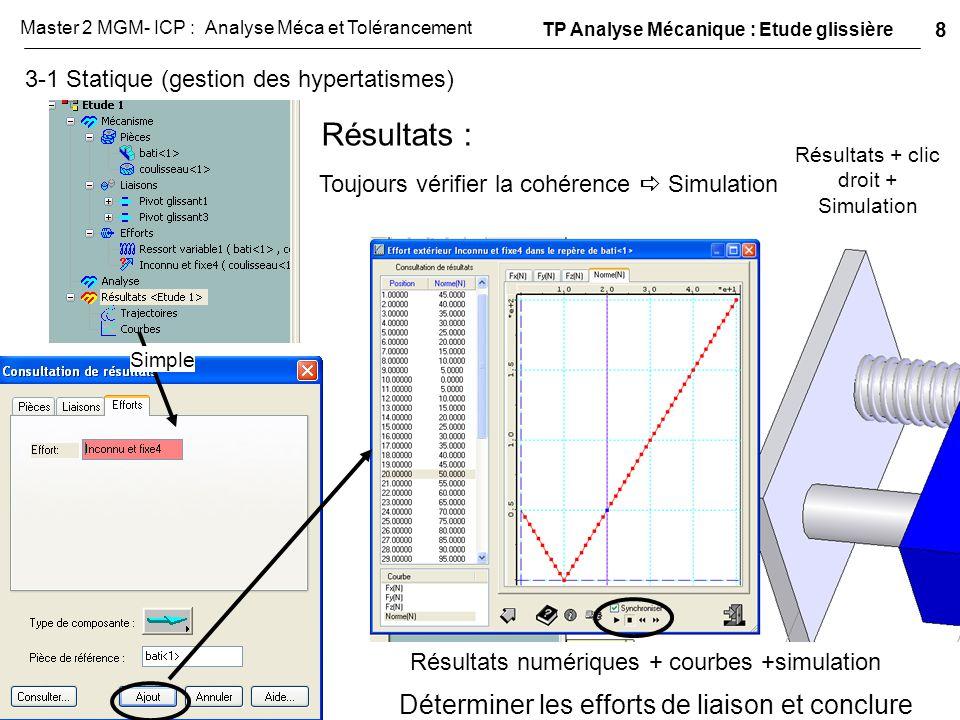 3-1 Statique (gestion des hypertatismes) Résultats + clic droit + Simulation Résultats : Toujours vérifier la cohérence  Simulation Résultats numériq