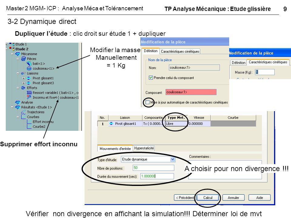 3-2 Dynamique direct Dupliquer l'étude : clic droit sur étude 1 + dupliquer Supprimer effort inconnu A choisir pour non divergence !!! Vérifier non di