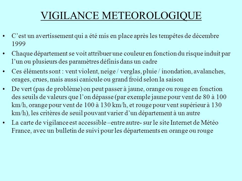 VIGILANCE METEOROLOGIQUE C'est un avertissement qui a été mis en place après les tempêtes de décembre 1999 Chaque département se voit attribuer une co
